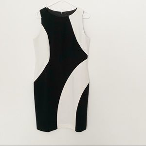 Ann Taylor White and Black Sleeveless Dress